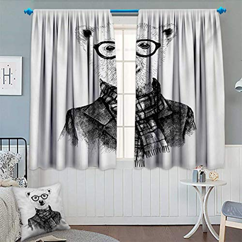 Animal Thermal Insulating Blackout Curtain Hand Drawn Monochrome Sketch Style Hipster Bear with Jacket Scarf Glasses Patterned Drape for Glass Door 63
