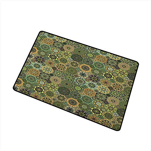 (Wang Hai Chuan Mandala Commercial Grade Entrance mat Ethnic Oriental Elements with Floral Design Retro Octagons and Rhombuses Pattern for entrances garages patios W29.5 x L39.4 Inch Multicolor)