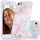 iPhone 7 Case, BAISRKE Laser Style Marble Design Cover, Colorful Lines Bling Bling Sparkling Shiny Flexible Glossy Soft Rubber TPU Case for iPhone 7 (2016) / iPhone 8 (2107) [White Marble]