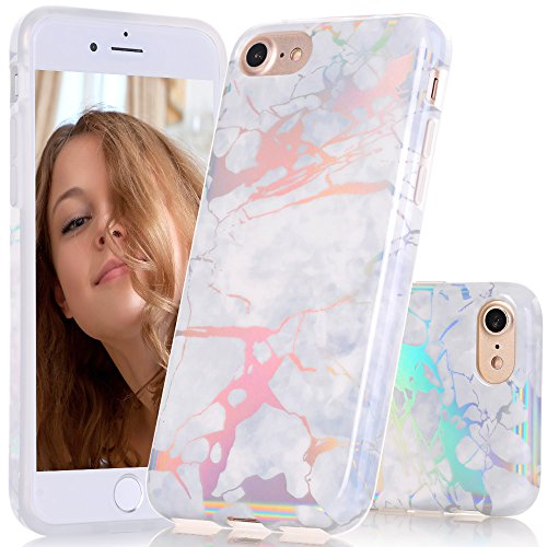 BAISRKE White Grey Marble Case with Gorgeous Holographic Pattern Laser Style Design Slim Black Bumper TPU Soft Rubber Silicone Cover Phone Case for iPhone 7 (2016) / iPhone 8 (2017) [4.7 inch]