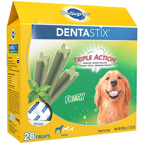 PEDIGREE DENTASTIX Large Dental Dog Treats Fresh, 1.52 lb. Pack (28 Treats) (Best Way To Treat Bad Breath)