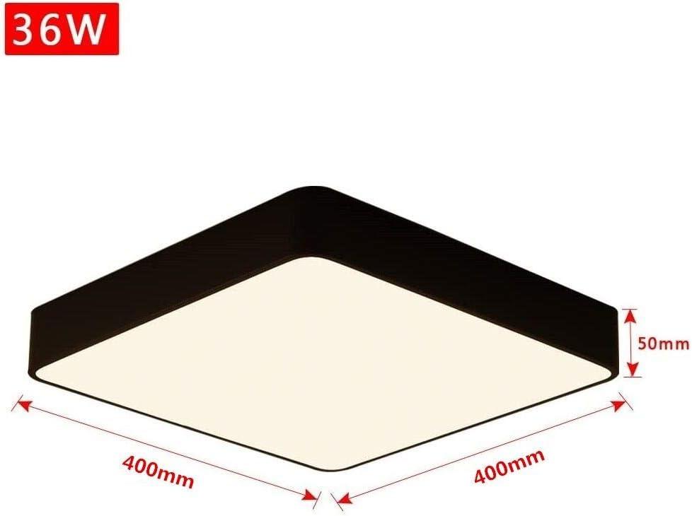 dormitorio 400 x 400 mm cocina 24W Blanco C/álido Plaf/ón de luz moderna para sal/ón 24W L/ámpara de Techo LED Blanco C/álido Negro