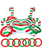 1 Piece Christmas Inflatable Ring Toss Game with 4 Pieces Inflatable Rings Throwing Ring Toss Christmas Cane Game for Christmas Holiday Party Inflatable Game