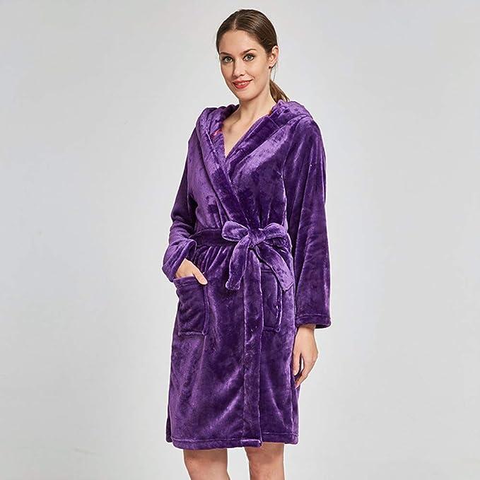 Batas de Lana para Mujer Bata de Felpa Suave Suave para Mujer Bata de baño Pijama cálido Batas de Felpa de Las Mujeres (Color : Flor, tamaño : Metro): ...