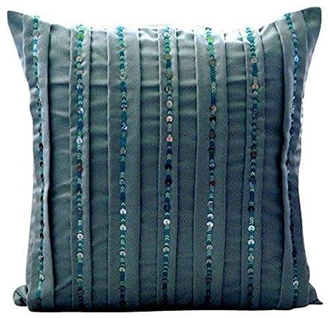 Amazon.com: Diseñador Azul Fundas de Almohada, lentejuelas ...