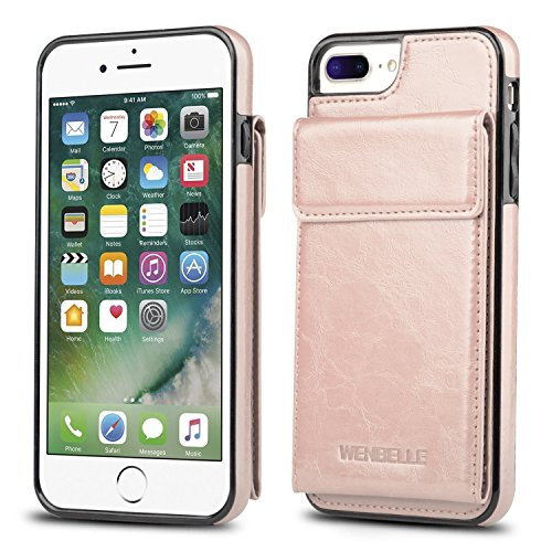 (for iPhone 7 Plus Wallet Case, iPhone 8 Plus Card Holder Case, WenBelle Shockproof Leather Wallet Case with Credit Card Slot Holder for Apple iPhone 7 Plus/iPhone 8 Plus (Rose Gold))