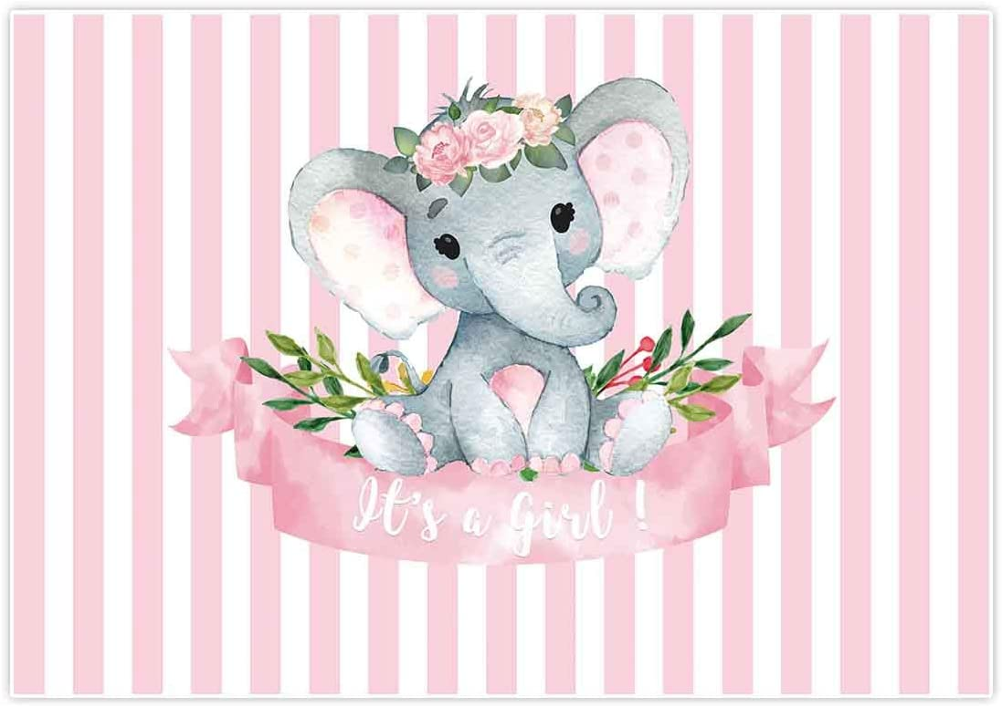Allenjoy 7x5ft It's a Girl Elephant Backdrop for Baby Shower Princess Newborn Birthday Decoration Pink White Stripes Watercolor Flower Photography Background Photo Booth Studio Props Favors Supplies