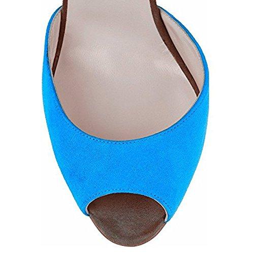 Damen Peep Toe Sandalen Pumps High Heels Stiletto Knöchelriemchen mit Fransen Blau