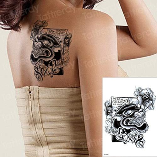 tzxdbh Leopardo Negro Tatuaje Temporal Letras Flores Brazo Tatuaje ...