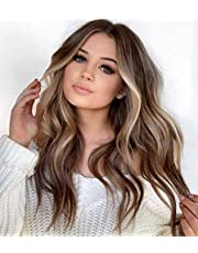 SILIN Long Brown Ombre Synthetic Wigs, Heat Resistant Synthetic Wig for Woman, Curly Wig Cosplay Party Halloween Costume Wigs, Brown 24''
