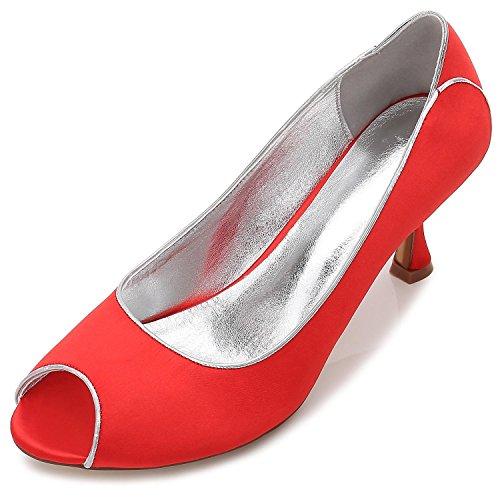 yc 53 amp; Office Red Toe Careers Night L T17061 Mujeres De Silk Las Wedding Boda Zapatos Peeking Party F0S0dq