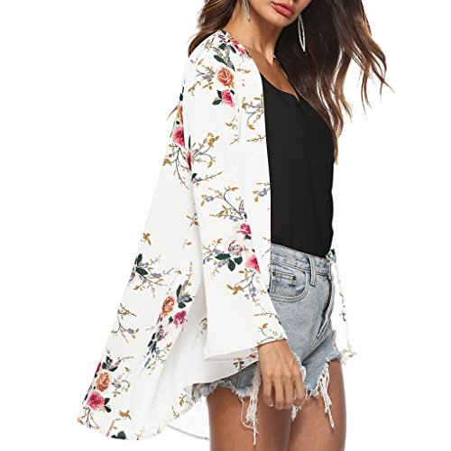 couvrante Masterein Manches imprim 1 Chemisier Cardigan Tops Casual Floral Chale Longues Femmes Fille YSwY4