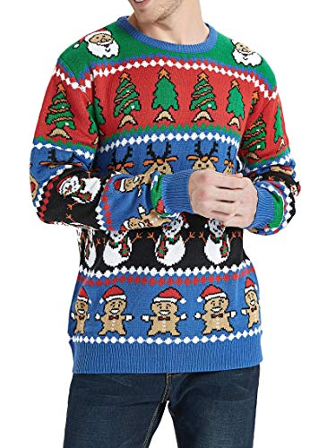 Daisyboutique Men's Christmas Rudolph Reindeer Holiday Sweater Cardigan