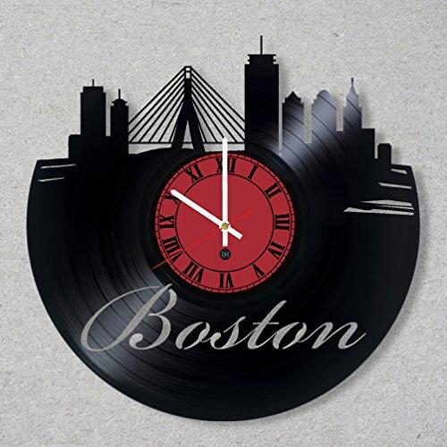 Boston Wall Usa (Vinyl Record Wall Clock Boston USA America City Skyline Massachusetts New England unique gift ideas for friends him her boys girls World Art Design)