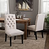 Upholstered Dining Room Chairs Clark Elegant Upholstered Dining Chairs w/ Button Tufted Backrest (Set of 2)