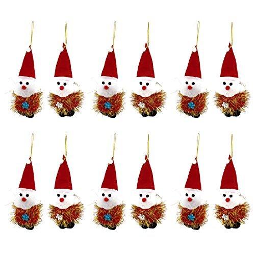 eDealMax Roja acentuada 12pcs Cap Decoracin de Pap Noel colgante Para el ornamento del rbol de Navidad