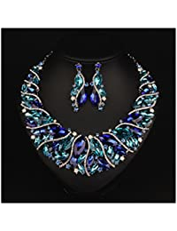 Bridal Costume jewelry Crystal Choker Pendant Bib Statement Charm Necklace and Earrings Sets