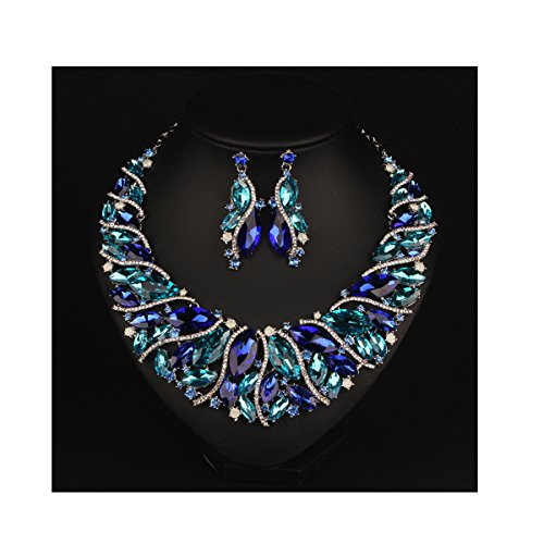Crystal Rope Earrings (Hamer bridal Link Costume jewelry Crystal Choker Pendant Bib Statement Chain Charm Necklace and Earrings Sets (Blue))