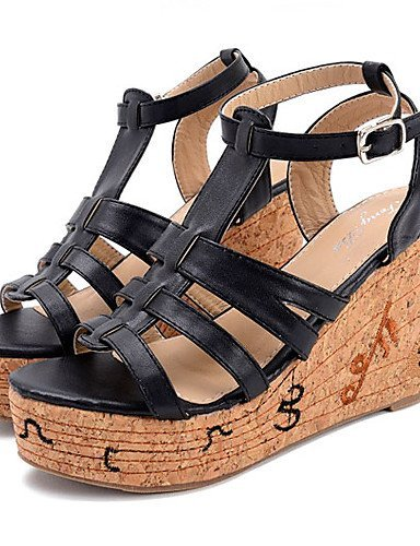 Brown Shoes Leatherette Toe Sandals ShangYi Heel Brown Black Women's Dress Open Wedge Pqnxwn4E5B
