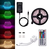 Sunix 16.4ft 5050 LED Strip Lights Kit, 5M RGB Colour Changing LED Flexible Strip + DC12V Power Adapter + 44-Key Remote, Non-Waterproof, Mood Decoration Lighting
