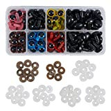 PH PandaHall 84 Pieces 6 Color Plastic Safety Eyes Craft Eyes With 42 Pieces Black Safety Noses And 126 Pieces Washers for Doll, Puppet, Plush Animal Making