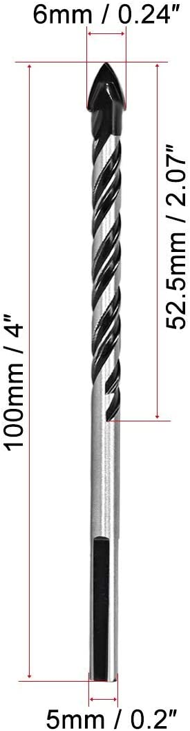 wood and marble glass concrete brick 5-piece 6mm triangular drill bit for drilling in ceramics tiles