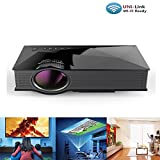 WiFi Mini Projector With Remote, Apatner LED Video Projector LCD projection Support HD 1080P Video Home Theater Cinema For Party,Home Entertainment