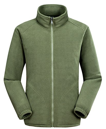 Men's Zip Sportswear Armygreen Full Outdoor Softshell Jackets Lightweight Chouyatou Fleece 6wPdqxUT6a