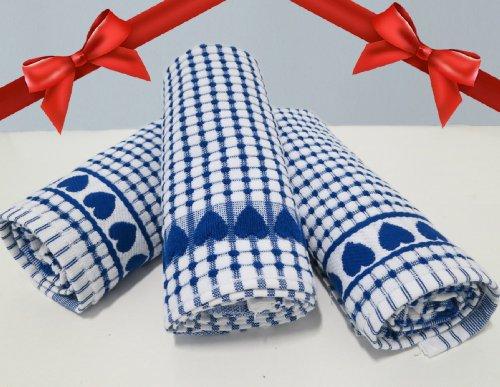 Check Linen (Roseberry Linen 3 Piece Love Gift, Check Print, Absorbent/Low Lint/100% Cotton Dish/Kitchen/Bleachable Towels, Blue)