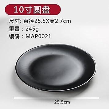 Plato plato melamina imitación porcelana cubertería hecha de plástico negro plato llano plato plato occidental arroz,10 pulgadas disco: Amazon.es: Hogar