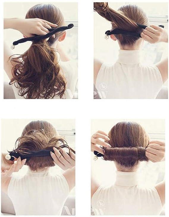 Hair Plate Bun Maker Rizador de pelo Clips Rodillos de pelo ...