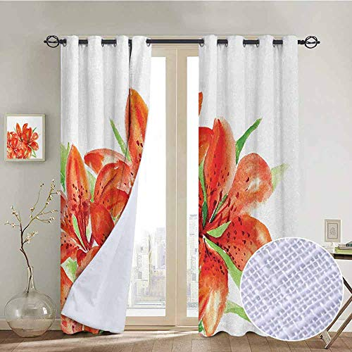 NUOMANAN Living Room Curtains Watercolor Flower,Pastoral Themed Large Lilies in Vibrant Colors Habitus of Flora Artwork,Red Green,Adjustable Tie Up Shade Rod Pocket Curtain ()