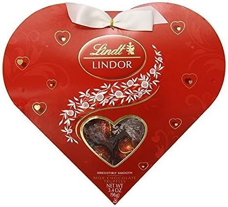 Lindt Valentine Lindor Truffles Gift Box, Milk Mini Heart, 3.4 ...