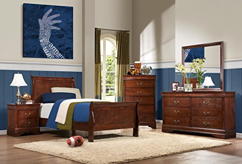 Cherry Twin Size Headboard (Homelegance Quincy Sleigh Panel Bed, Twin, Cherry)