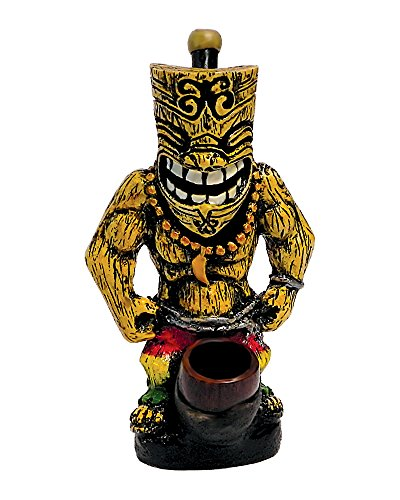Polynesian Grinning Rasta Tiki Man Handmade Tobacco Smoking Medium Hand Pipe