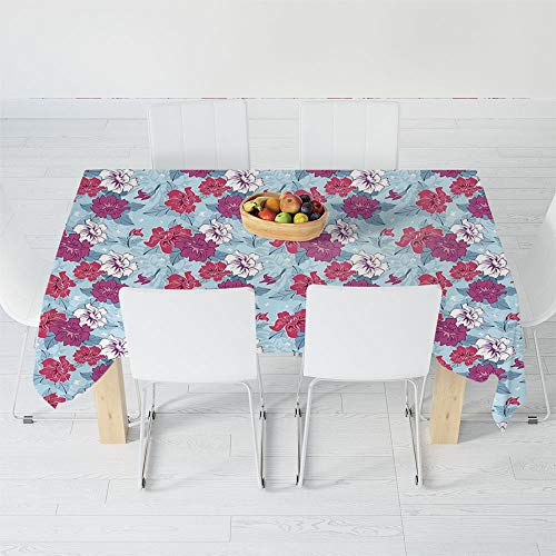 (TecBillion No Fading Tablecloth,Floral,for Table Outdoor Picnic Holiday Dinner,60.2 X 42.1 Inch,Damask Flourish Lively Blooms and Leaves with )
