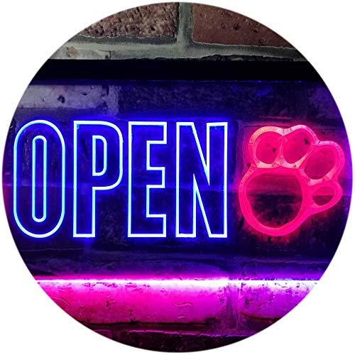 ADVPRO Open Paw Print Dog Cat Grooming Shop Dual Color LED Neon Sign Red & Blue 16 x 12 Inches st6s43-j0792-rb