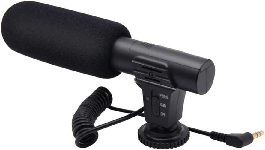 AkoMatial Universal MIC-05 Portable Microfilm Interview Microphone Noise Reduction External Microphone for DSLR Camera DV Camcorder