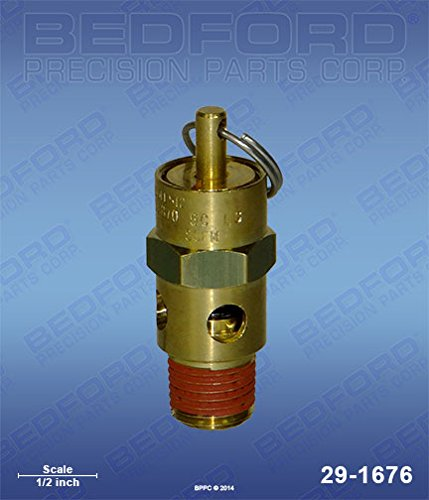 BINKS 83-1876, DEVILBISS TIA-5080 Bedford Precision 29-1676 Bedford 29-1676 ASME Air Relief Safety Valve - 80 PSI by Bedford Precision (Image #1)