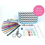 ULTIMATE CROCHET KIT with Crochet Hook Set, Great for Beginners, Fanatics and Newbies Just Learning - This Crochet Hook Set and Kit Includes a Crochet Hook Set, Stitch Markers, Scissors, Yarn Needles, Measuring Tape, Safety Pins, Ruler, Gauge Measure and Row Counter. Everything you need to Crochet your perfect pattern. (Grey Chevron Pattern)