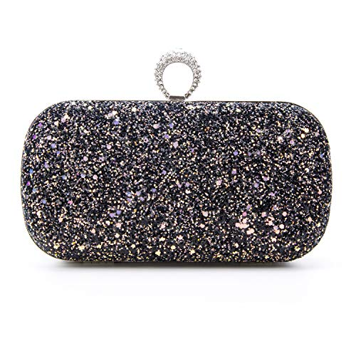 Black Pink Evening Bags Glitter And Clutches for Women Dance Wedding Party With Two Chain Strap (black)