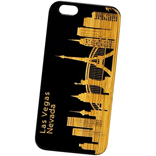 Las Vegas Skyline Engraved Black Bamboo Cover for iPhone and Samsung phones Wood - Samsung Galaxy s7 Edge Sales