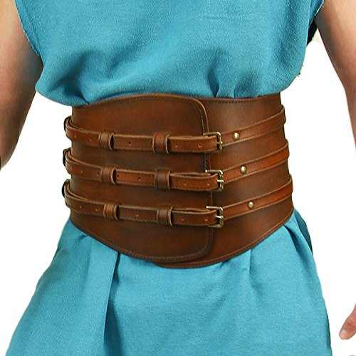 Museum Replicas Roman Gladiator Wide Leather Kidney Belt w/Buckles (Small/Medium)