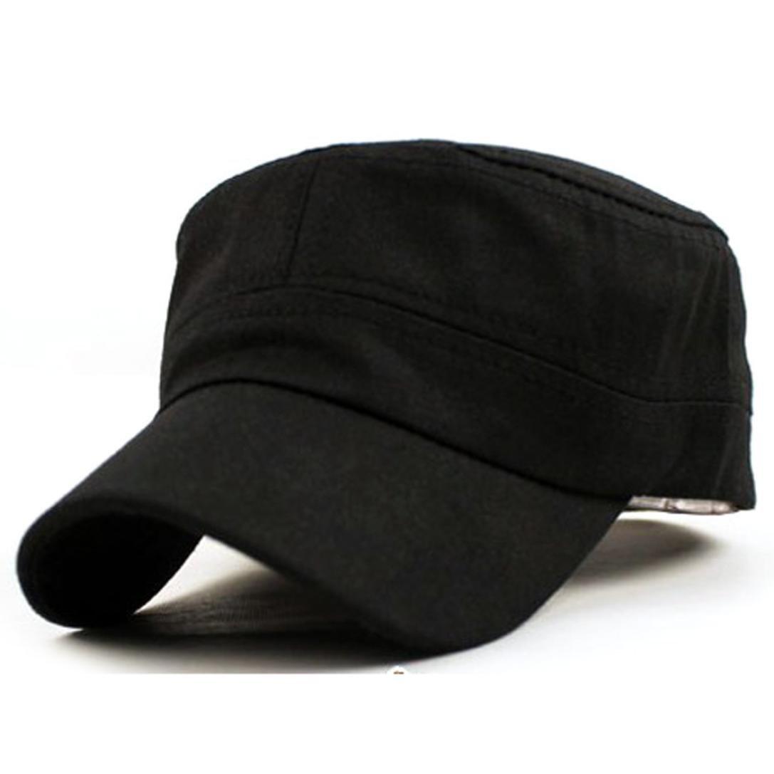 Kimloog Unisex Army Caps, Cadet Classic Adjustable Military Style Hats Flat Top Sunhat (Black)