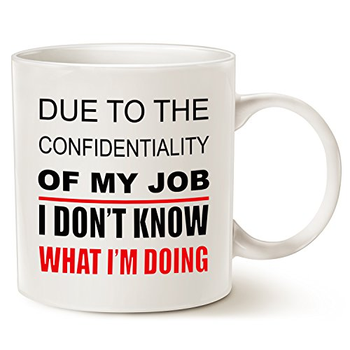 Funny Quote Coffee Mug Christmas Gifts - Due to the confidential job I don't know what I'm doing - Unique Christmas or Birthday Gifts Porcelain Cup White, 14 Oz by (Customised Gifts)