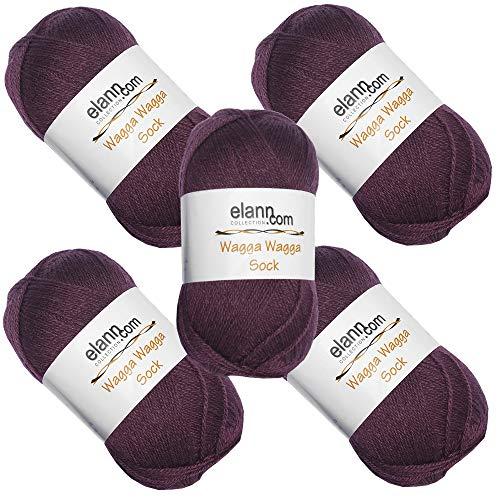 (elann Wagga Wagga Sock Yarn | 5 Ball Bag | 120 Grape Wine)