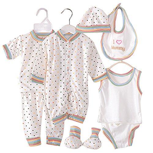 wocharm 0-3 Month Newborn Boy Girls Clothes Infant Outfits Layette Set 5PCS/8PCS (Dots) ()