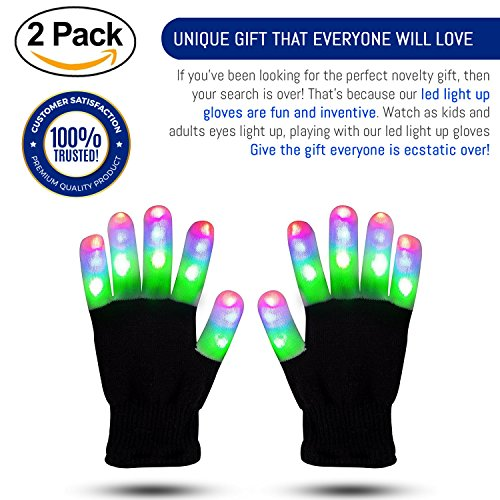 ETCBUYS Light Gloves - Finger Light Flashing LED Gloves Warm with Flashing Lights and 6 Different Modes for Men Women & Kids, Gifts Ideas and Gloves with Lights Birthday Light (Simple Idea For Halloween Costume)