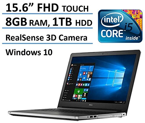 2016 Dell Inspiron 5000 Touchscreen 15.6 FHD Laptop, 6th Intel Core i5-6200U up to 2.8GHz, 8 GB RAM, 1 TB HDD, DVD, Backlit keyboard, HDMI, Bluetooth, 802.11ac, RealSense 3D Webcam, Windows 10 image