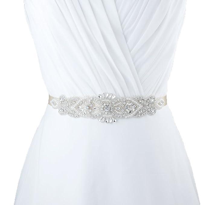 TOPQUEEN Brillantes Cinturón de boda Joyería Correa Vestido Cinturones de Mujeres Forma de Hoja Cristal Decoración